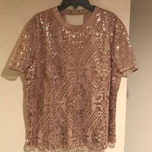 Rose Gold Sequins Blouse
